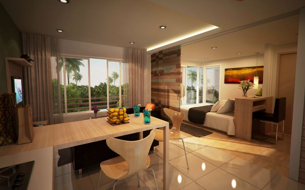 Kitchen + dining + living