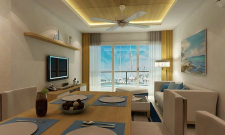 Living area with marina view