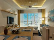 Living space with marina view